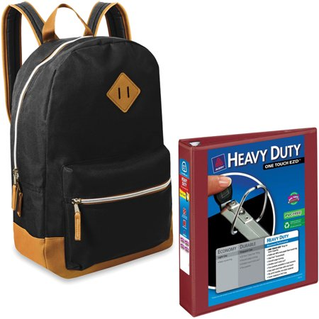 17.5;; Classic Backpack With Reinforced Vinyl Bottom and Comfort Padding and Avery Heavy Duty View 1.5; Binder Bundle