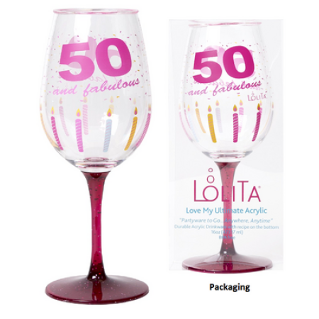 C R Gibson Lolita Ultimate Acrylic Glitter Wine Glass 50