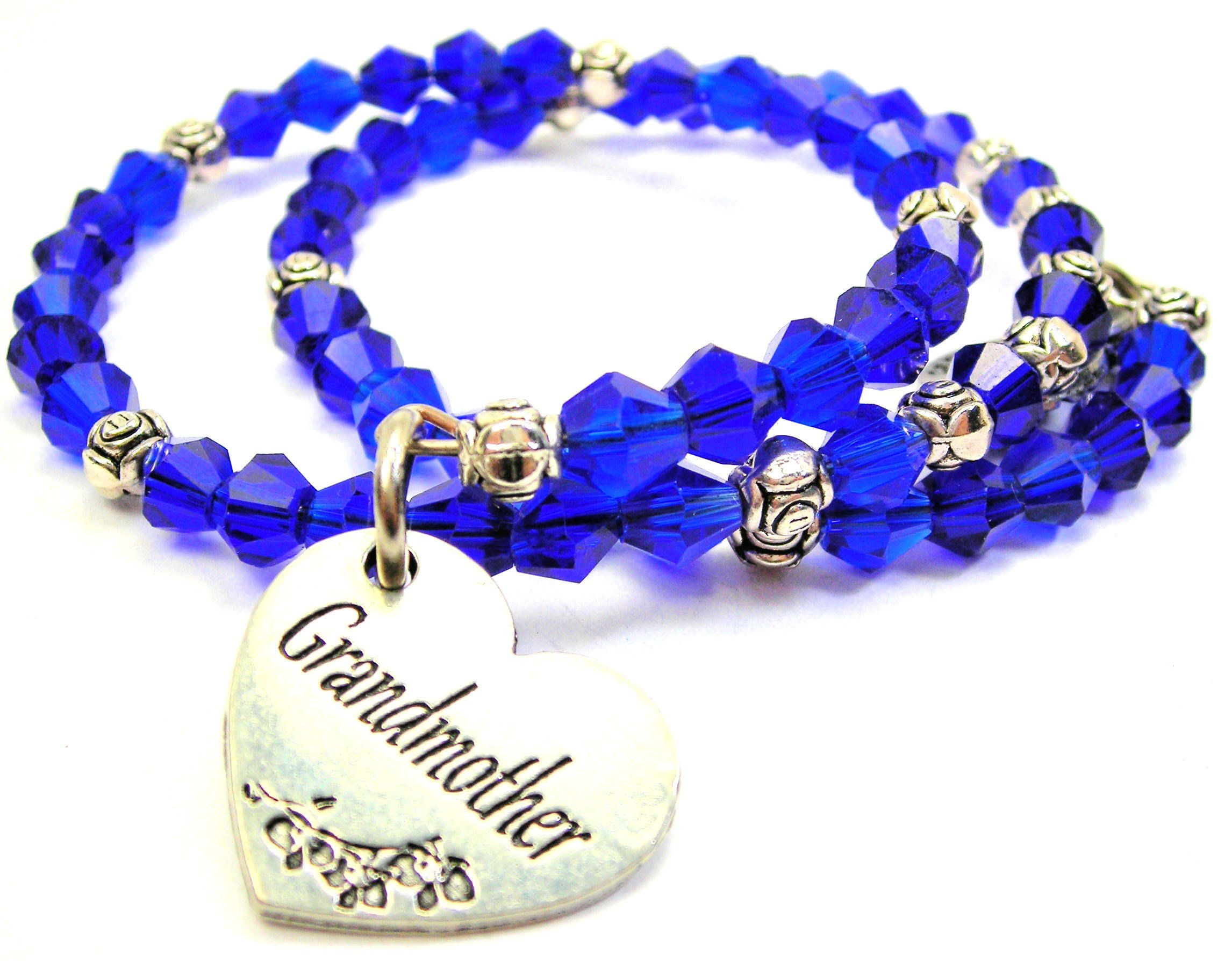 Chubby Chico Charms Mother Victorian Scroll Crystal Collection Bracelet Set in Aqua Blue