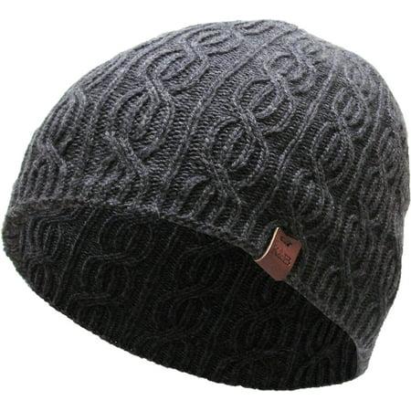 Dark Gray Soft Winter Cable Knit Beanie Short Skull Cap Ski Warm (Beanie Skull Ski Knit Cap)