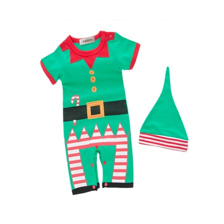 StylesILove Unisex Baby Holiday Elf Short-Sleeved Costume Romper (3-6 Months) (3-6 Month Old Baby Halloween Costumes)