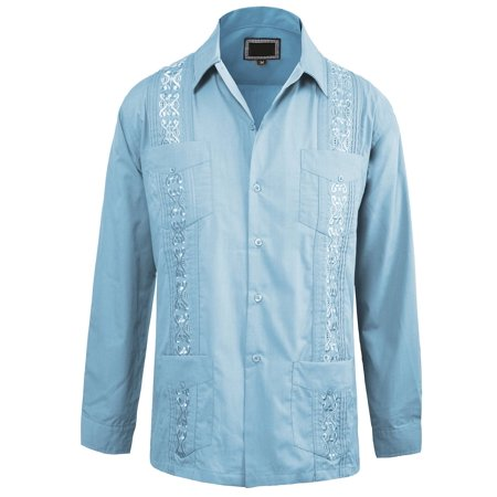 Guayabera by Men's Wedding Long Sleeve Button Down Cuban Shirt