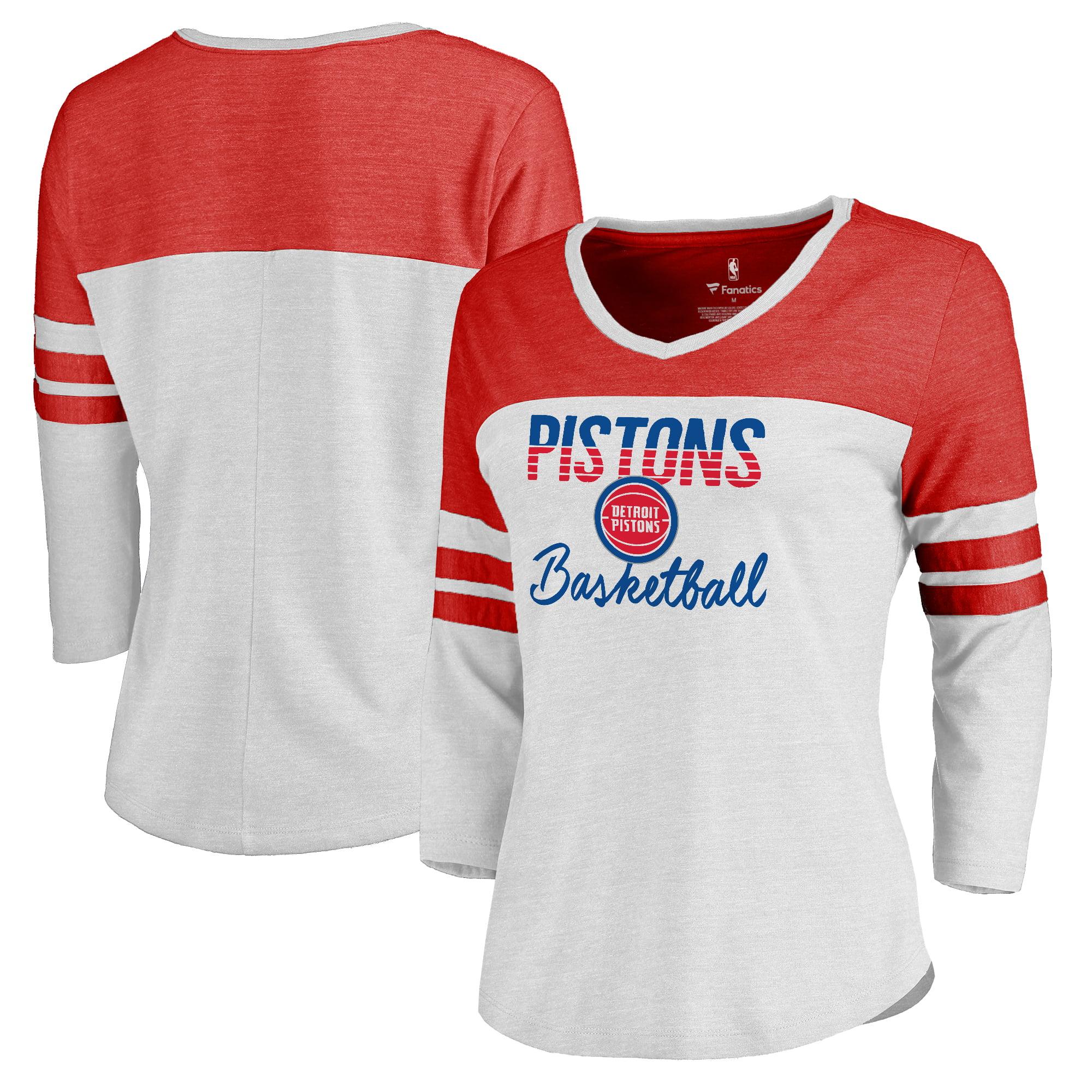 Detroit Pistons Fanatics Branded Women's Plus Size Free Line Color Block 3/4-Sleeve Tri-Blend T-Shirt - White/Red