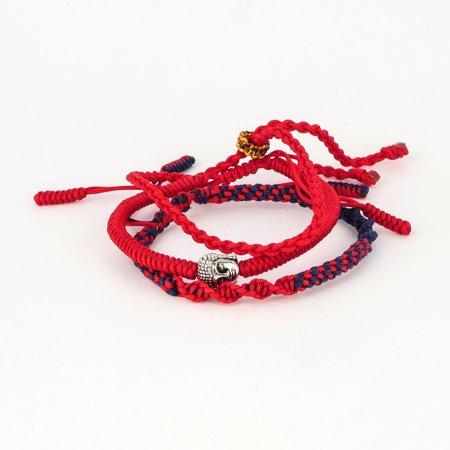 Triple set of Handmade Tibetan Buddha spiritual  multi color  Bracelets & Bangles ( spirit of healing and positive energy) adjustable 20-21.10 cm (Multi Color Bracelet)