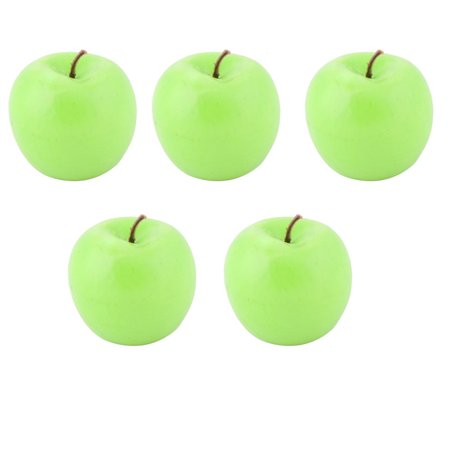 Kitchen Desk Decor Foam Artificial Fruit Apple Green 5pcs