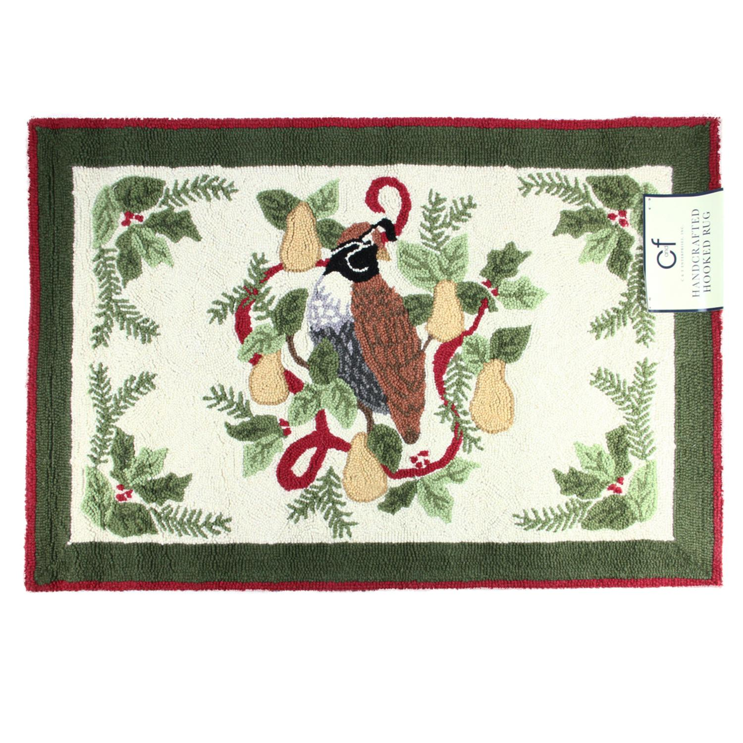2' X 3' Decorative Partridge In A Pear Tree Christmas Throw Rug