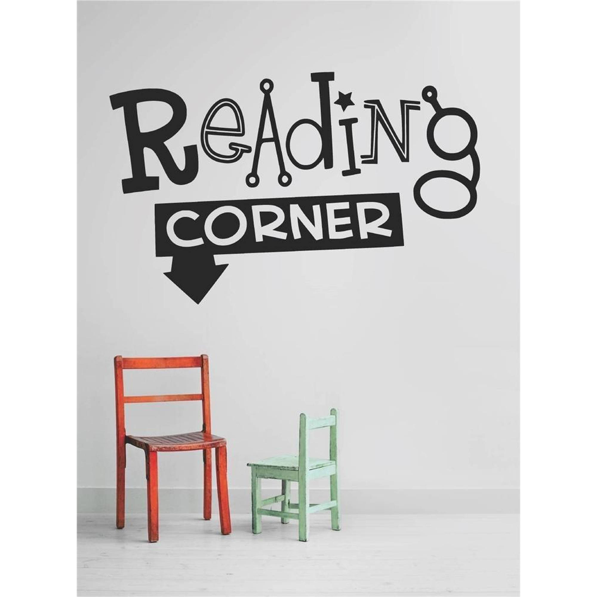 "Reading Corner Kids Bedroom Daycare School Vinyl Wall Decal, 9"" x 20"", Black"