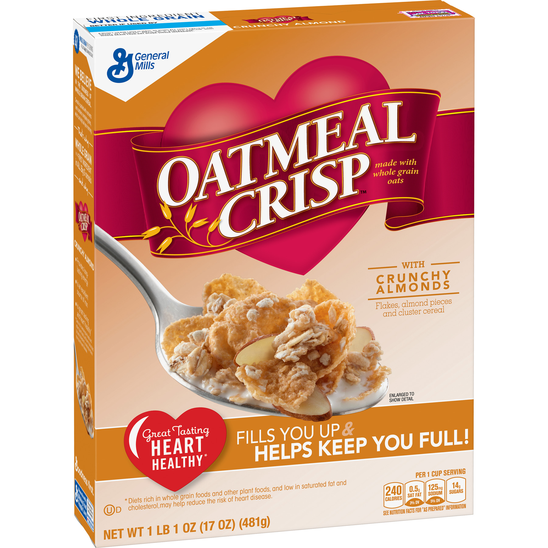 (2 Pack) Oatmeal Crisp with Crunchy Almond Cereal, 17 oz