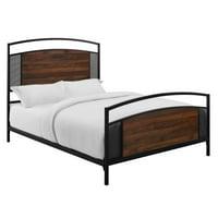 Delacora WE-BDQOSB Cavalier Queen Industrial Metal Mesh Platform Bed Frame
