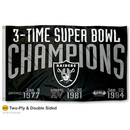 Oakland Raiders 3 Time Super Bowl Champions Two Sided Flag