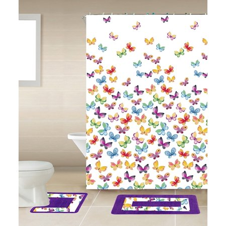 15pc MULTICOLOR BUTTERFLY  Bathroom Set Printed Banded Rubber Backing Rug Bath Mats With Fabric Shower Curtain & Hooks New Designs - Butterfly Bathroom