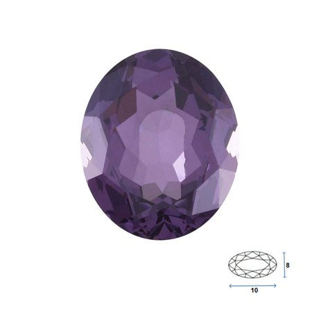 Oval Shape Imitation Amethyst Faceted Gemstone Sized 10x8 mm