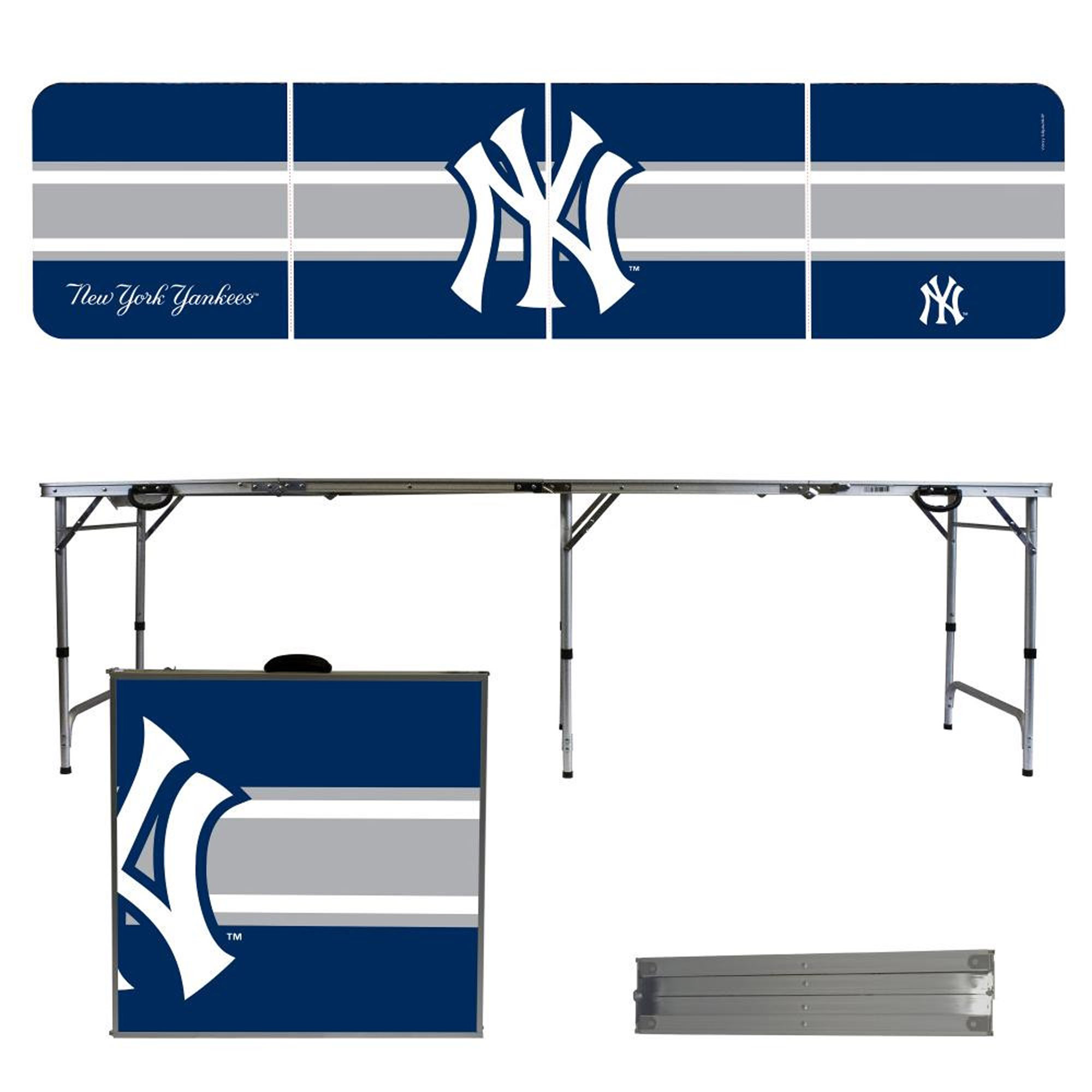 New York Yankees Striped Design 8' Portable Folding Tailgate Table - No Size