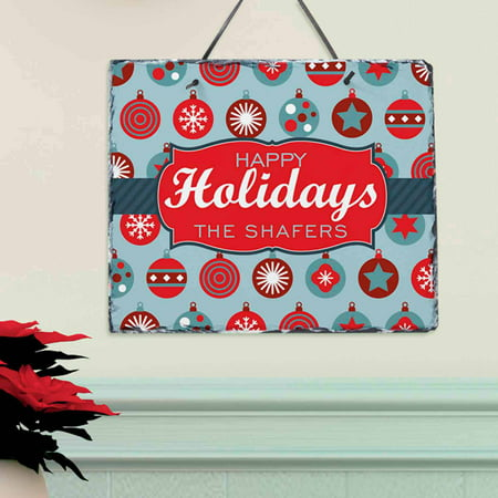 Personalized Holiday Ornament Christmas (Personalized Slate Wall Plaque)
