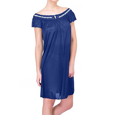 Women's Satin Silk Lingerie Nightgown By - White Cap And Gown