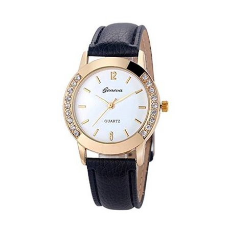 Wittnauer Crystal Wrist Watch (Woman's Elegant Casual Crystal Rhinestone Goldtone Dress Wrist  Watch-260 )