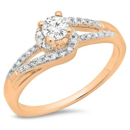 18k White Gold Twist (0.45 Carat (ctw) 18K Rose Gold Round Cut Diamond Ladies Twisted Split Shank Bridal Engagement Ring 1/2 CT)