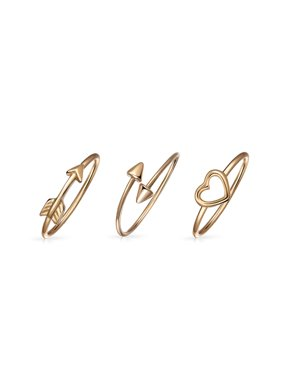 32dabef3f Product Image 3 Set Rose Gold Plated 925 Sterling Silver Love Sentimental  Cupids Arrow Heart Knuckle Midi Ring