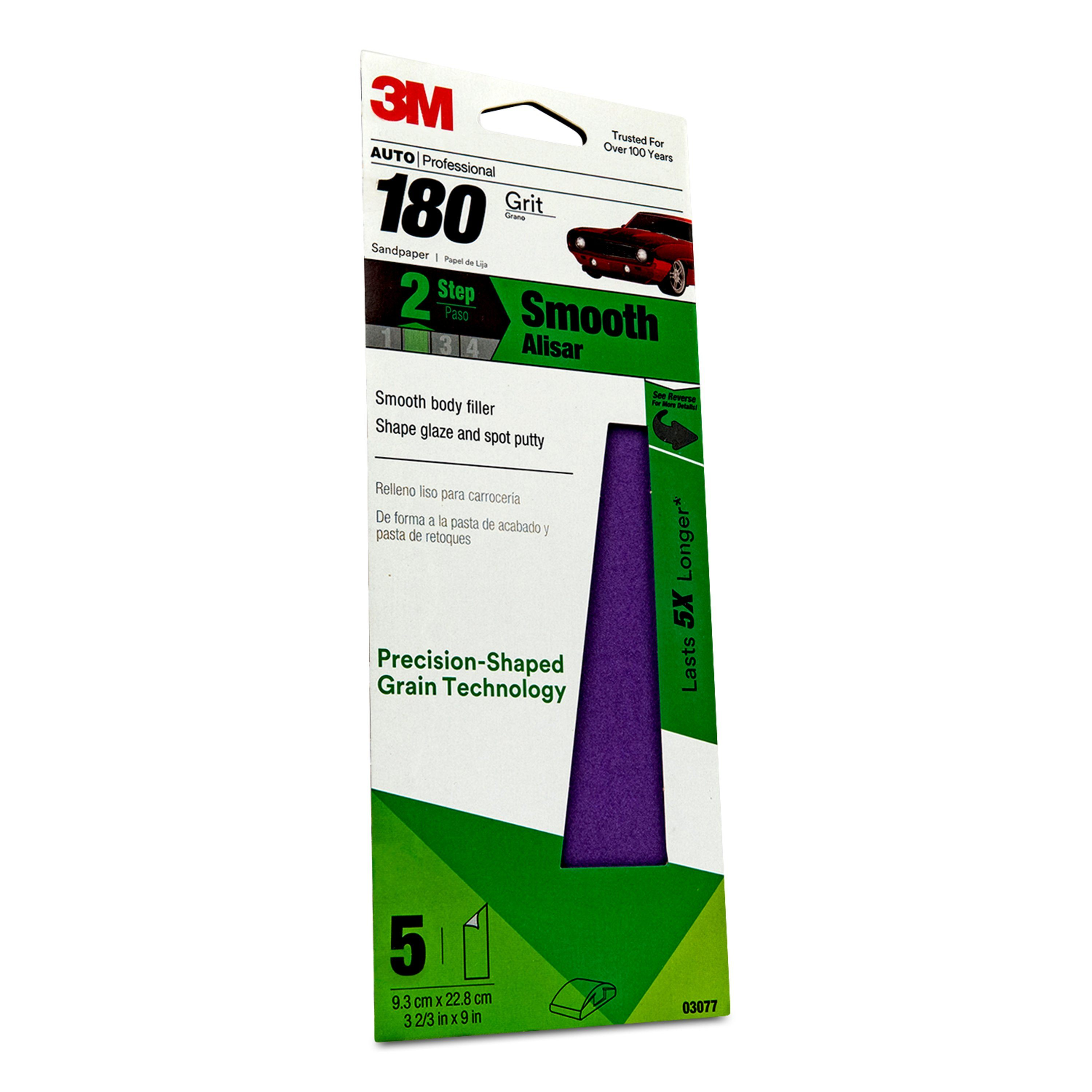 3M Automotive Performance Sandpaper, 03077, 180 Grit, 3 2/3 in x 9 in