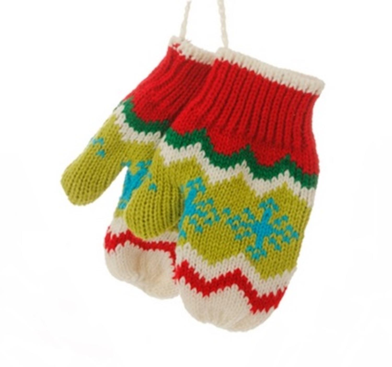 """5"""" Joyeux et lumineux vert, blanc et rouge Knit Paire de mitaines Boule de Noël - image 1 de 1"""
