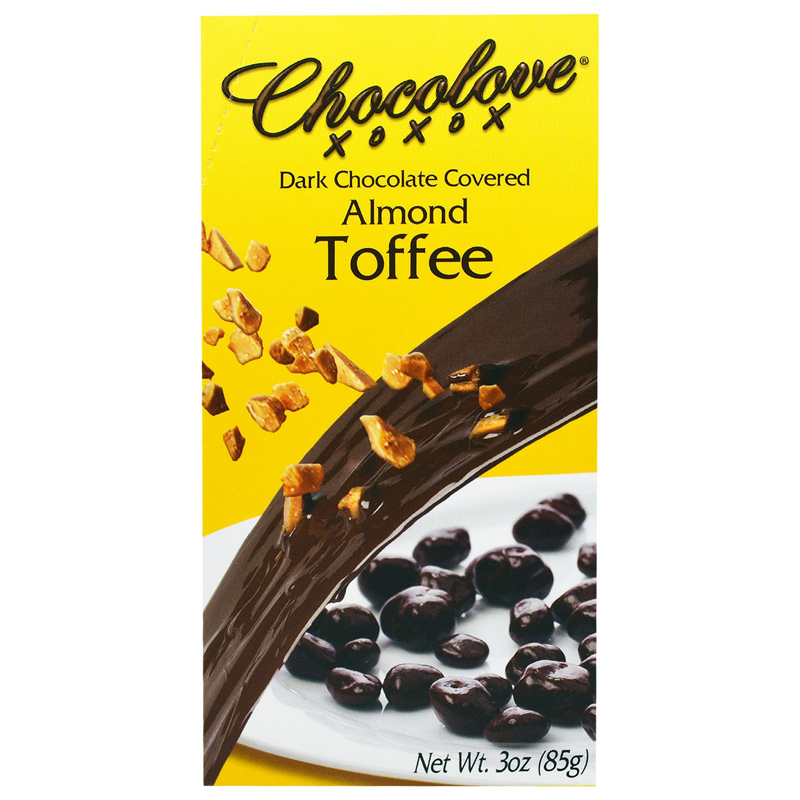 Chocolove, Dark Chocolate Covered Almond Toffee, 3 oz(pack of 1) by