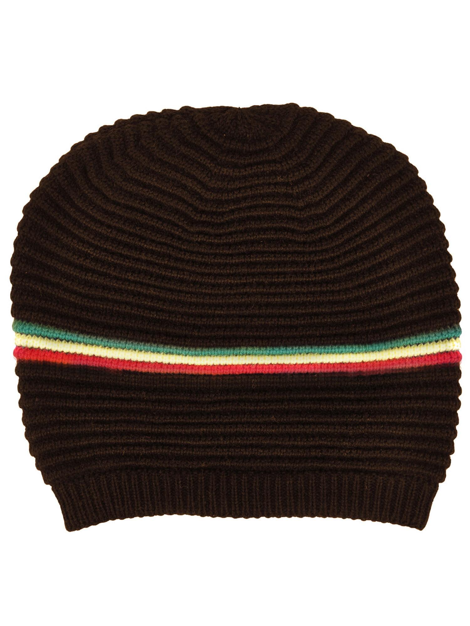 4f10f6cdc Men / Women's Oversized Slouchy Winter Knit Black Beanie Hat, Color Stripes