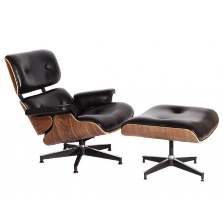 Swell Mcm Eames Style Lounge Chair With Ottoman Aniline Leather Squirreltailoven Fun Painted Chair Ideas Images Squirreltailovenorg