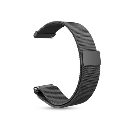 Black Carbon Fiber Watch Band - For Garmin Vivoactive 3 Band, Fintie 20mm Quick Release Metal Loop Stainless Steel Replacement Watch Strap, Black