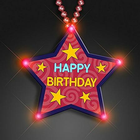 Huge Happy Birthday Star Beaded Necklace Flashing Body Light Lapel Pins, Fun! (Flashing Star Necklace)