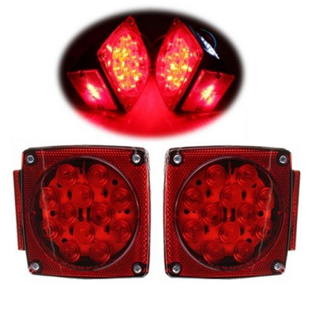 1 Pair Truck Trailer Stop Brake Light Side Marker LED Tail Square Waterproof