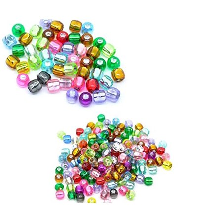 Art Glass Focal Bead - 600 Mixed Multicolor Crafts Foil Pony, Loose Beads, 7x7mm, sold per pack of 600