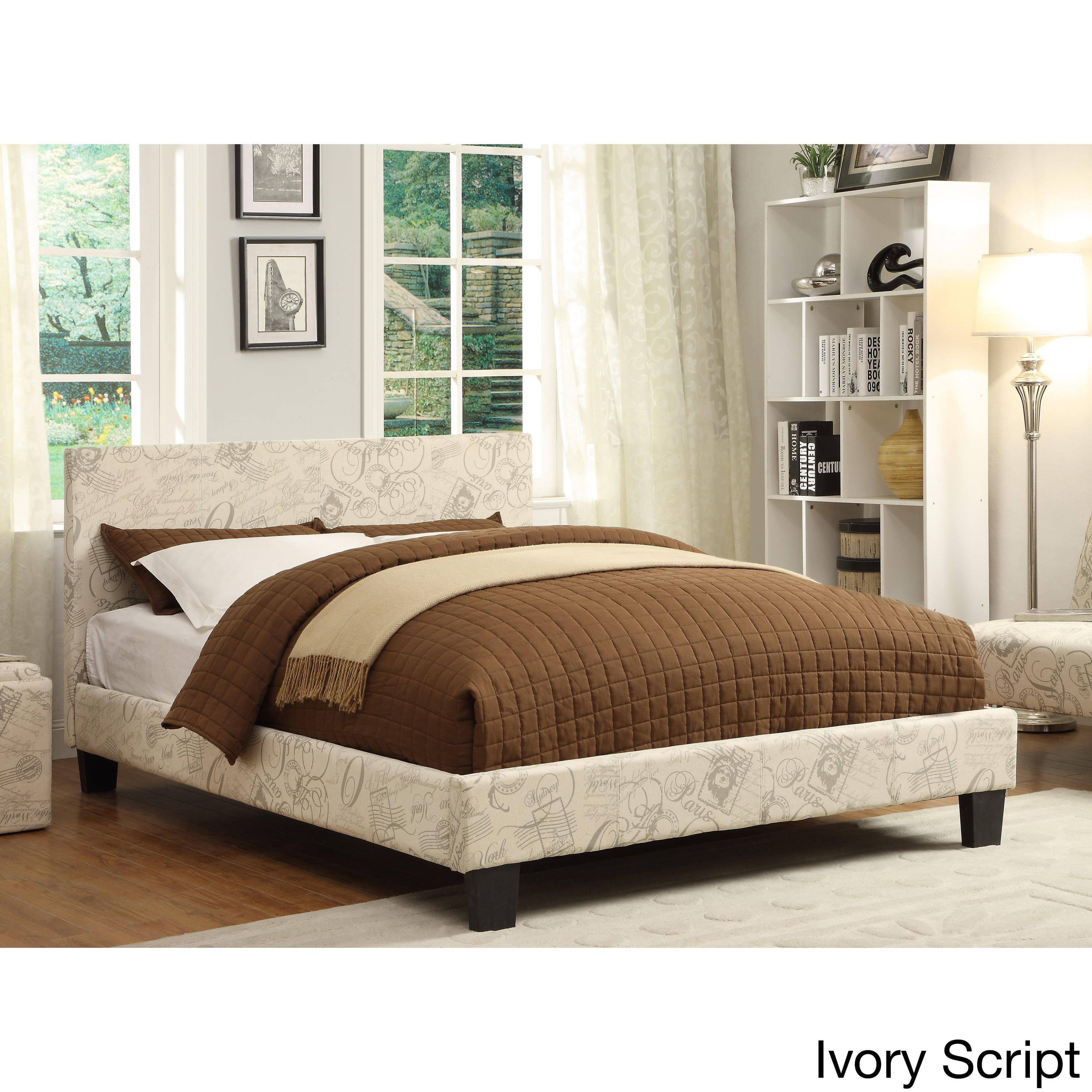 Furniture of America  Kutty Leatherette Modern Full Size Padded Platform Bed