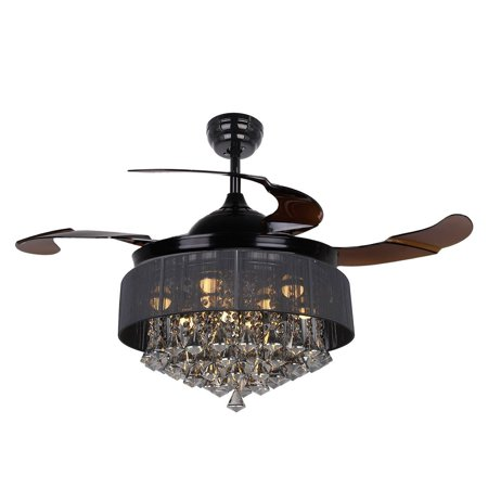 Ceiling Fans With Lights 42 Modern Black Fan Retractable Blades Crystal Led Chandelier