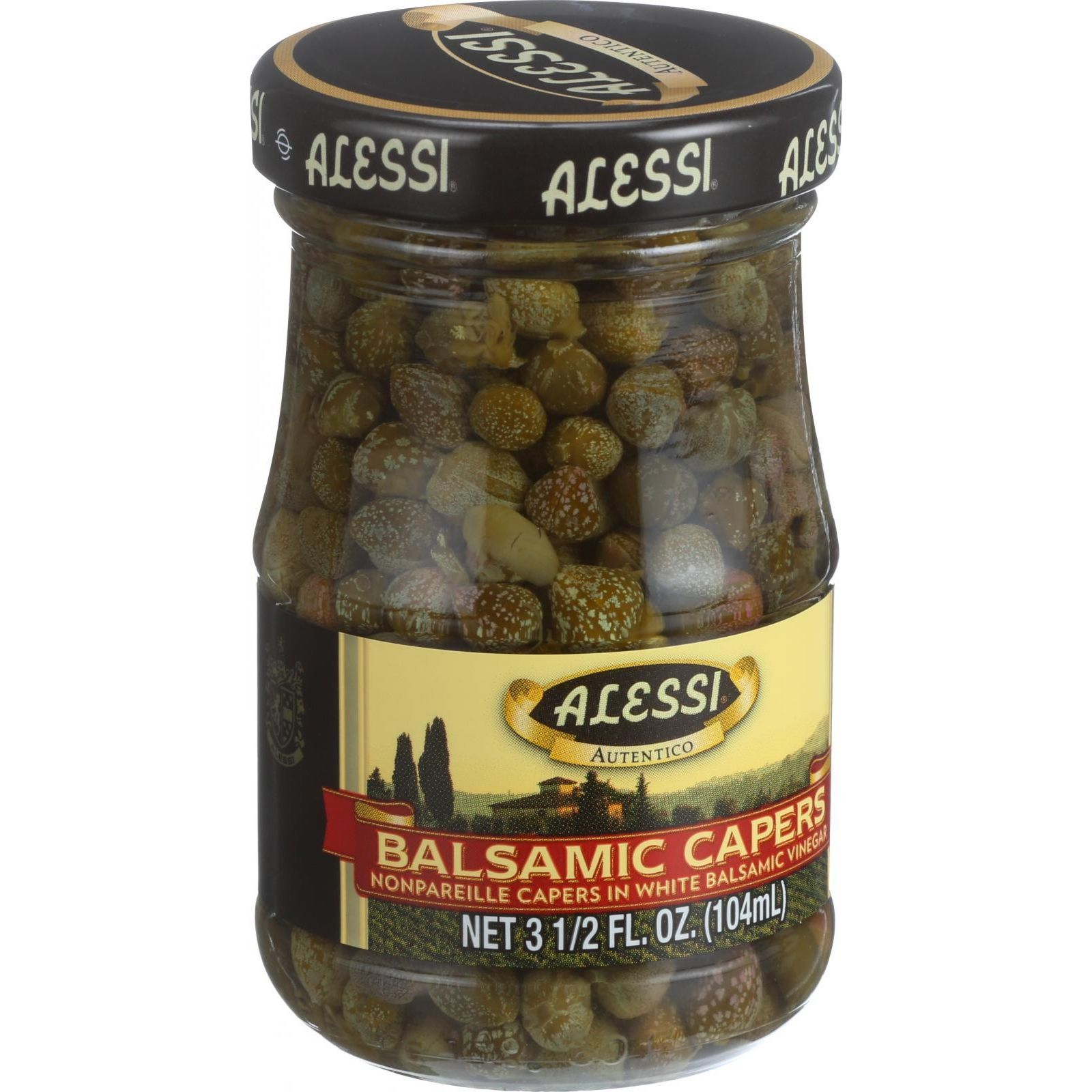 Alessi Capers in White Balsamic Vinegar 3.5 oz Case of 6 by