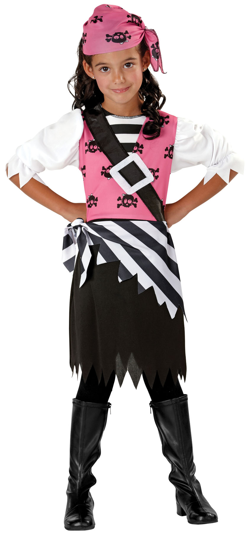Seasons Halloween Punky Pirate Child 3pc Girl Costume, Black Pink by Seasons