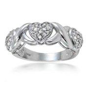 1/4ct TDW Diamond Heart and X Ring (I-J, I2-I3) Goldtone Size 7