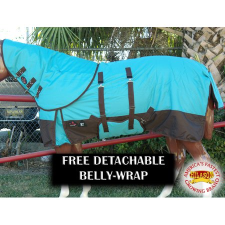 "84"" HILASON 1200D 400 GSM WINTER HORSE BLANKET NECK COVER BELLY WRAP TURQUOISE"