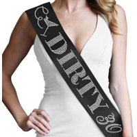 "30th Birthday Sash ""Dirty 30"" - Rhinestones on Black Satin Sash - 30th Birthday Decorations & Supplies"