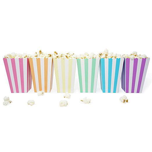 36 Unicorn Pastel Rainbow Stripe Mini Popcorn Candy Party Favor Boxes