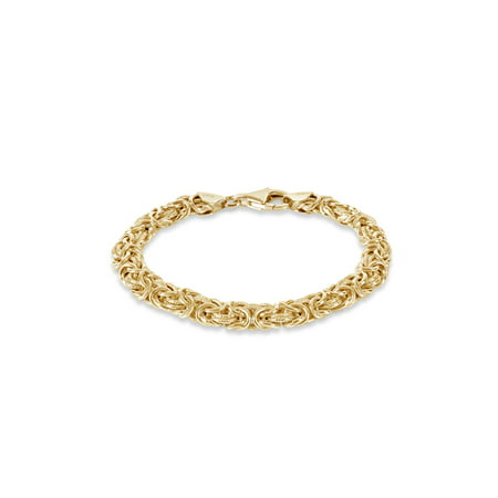 - 18 Gold Over Sterling silver Byzantine Textured Link Bracelet, 7.5