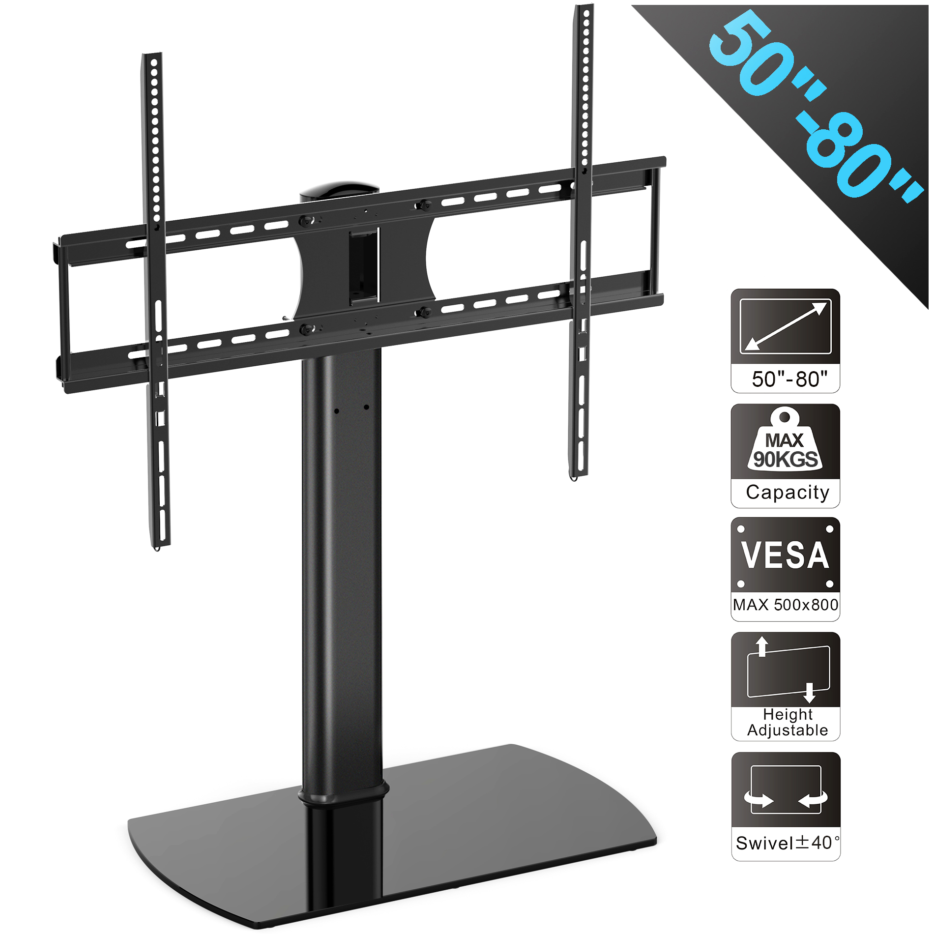 FITUEYES Universal TV Stand Swivel Tabletop TV Stand with Mount for 50 to 80 inch Flat screen Tvs TT107004GB