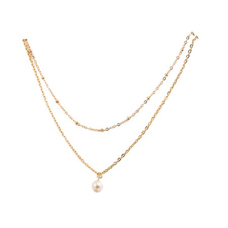 Women Girls Pearl Pendant Choker Double Layer Chain Necklace Women Wedding Beads Jewelry Necklace ()