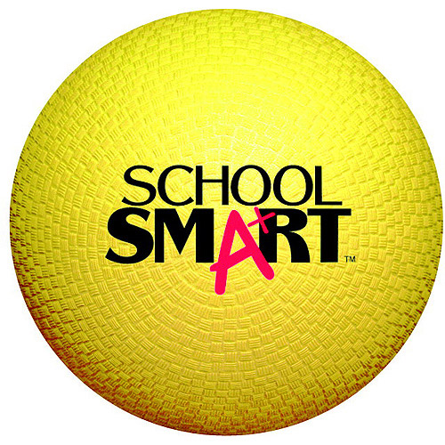 School Smart Rubber Playground Ball, Multiple Sizes, Yellow