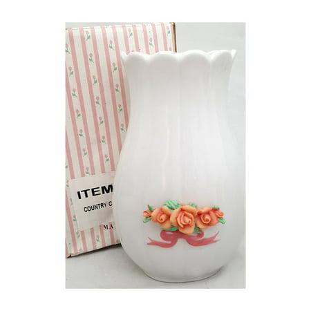 Country Cottage Porcelain Roses Bud Vase Famille Rose Porcelain Vase