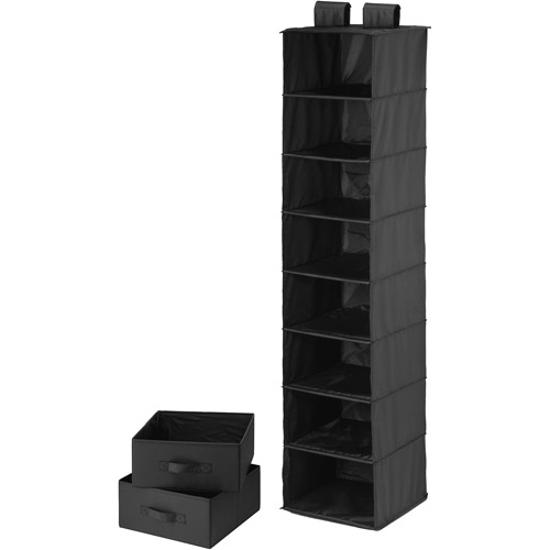 Honey-Can-Do 8-Shelf Organizer with 2 Drawers, Black Polyester