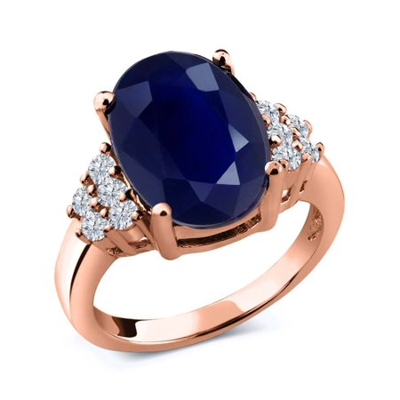 ad296bc9752a52 Gem Stone King - 5.33 Ct Oval Blue Sapphire White Diamond 18K Rose Gold Ring  - Walmart.com