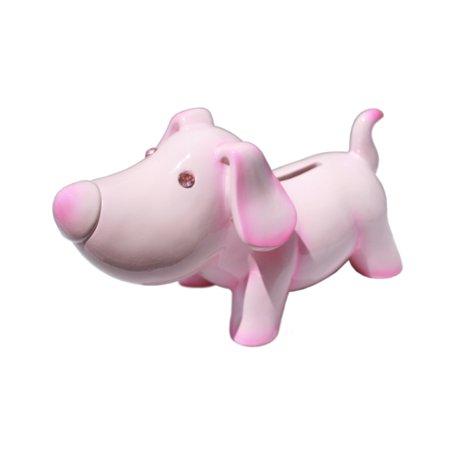 Jewel Eye Puppy Coin Money Piggy Bank Pink