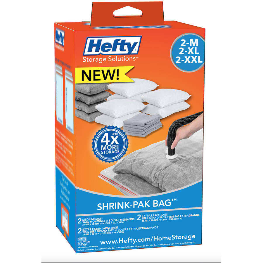 Hefty Med, XL, XXL Shrink-Pak Vacuum Seal Bags, 6-Pack