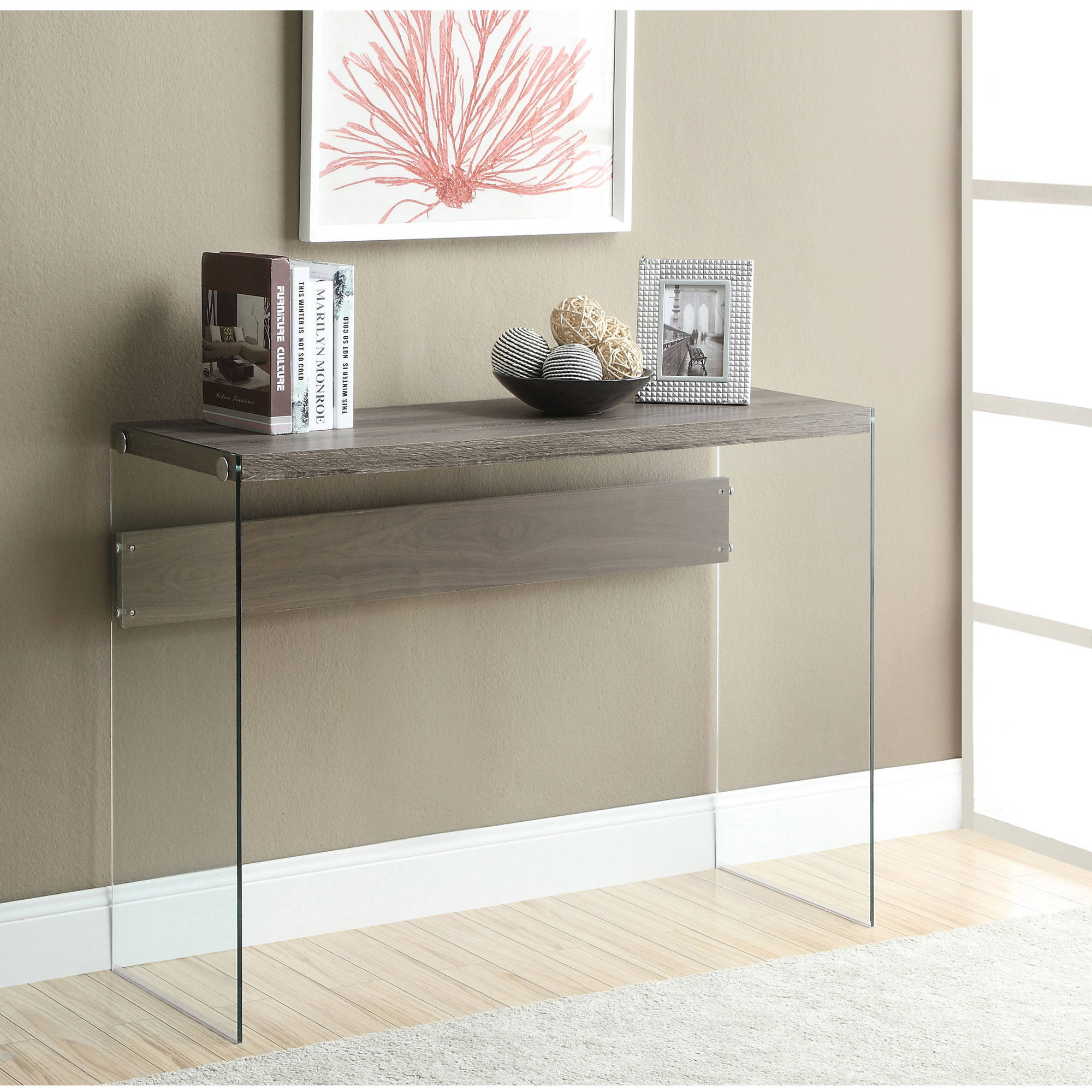 Monarch Console Table Dark Taupe With Tempered Glass   Walmart.com