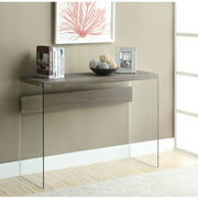 Monarch Console Table Glossy Grey With Tempered Glass